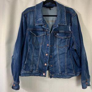 Lane Bryant Distressed Denim Jacket Size 24